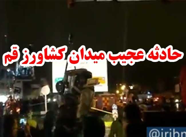 تصویر حادثه عجیب میدان کشاورز قم + فیلم   نشست زمین و ایجاد گودال ۷ متری