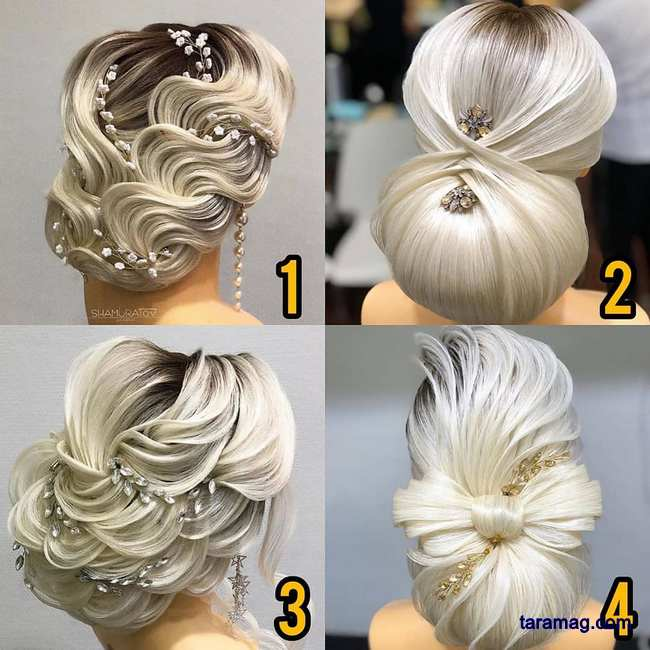 تصویر شینیون عروس جدید ۲۰۲۰ – ۹۹ | تصاویری خاص و دیدنی از مدل شینیون مو جدید خطی