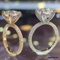 حلقه ازدواج اروپایی ۲۰۲۰ | حلقه های طلایی رنگ با نگین های کار شده از جنس طلا