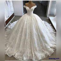 لباس عروس گیپور ۲۰۲۰ – ۹۹ | جدیدترین مدل لباس عروس گیپور دنباله دار